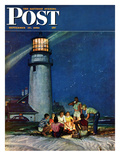 """Beach Bonfire"" Saturday Evening Post Cover  September 16  1950"