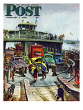 """Hudson Ferry"" Saturday Evening Post Cover  February 4  1950"