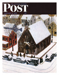 """""""Snowy Morning at Church"""" Saturday Evening Post Cover  January 6  1951"""
