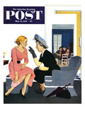 """Gossiping Neighbor"" Saturday Evening Post Cover  May 12  1951"