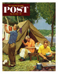 """Three Generations Camping"" Saturday Evening Post Cover  May 30  1953"