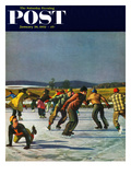 &quot;Ice Skating on Pond&quot; Saturday Evening Post Cover  January 26  1952