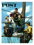 """Linemen Listen to World Series"" Saturday Evening Post Cover  October 4  1952"