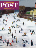 """Fox River Ice-Skating"" Saturday Evening Post Cover  January 11  1958"