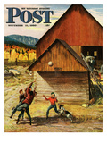 """Ranch Basketball"" Saturday Evening Post Cover  November 11  1950"