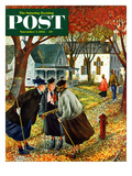 """Fall Gab Session"" Saturday Evening Post Cover  November 7  1953"