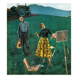 """Farmer and Female Artist in Field""  June 6  1953"