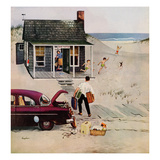 """First Day at the Beach"", August 11, 1956 Giclée par George Hughes"