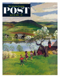 """Jumping Rope Under the Apple Tree"" Saturday Evening Post Cover  April 25  1953"