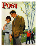"""Mocking Romance"" Saturday Evening Post Cover  March 31  1951"