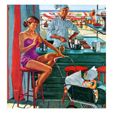 """Babysitter at Beach Stand"", August 28, 1954 Giclée par George Hughes"