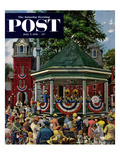 """Patriotic Band Concert"" Saturday Evening Post Cover  July 7  1951"
