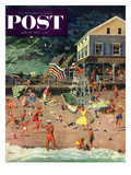 """Thunderstorm at the Shore"" Saturday Evening Post Cover  July 10  1954"
