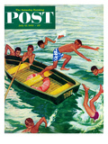 &quot;Rowboat Diving&quot; Saturday Evening Post Cover  July 12  1952