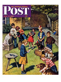 """Backyard Dog Show"" Saturday Evening Post Cover  July 8  1950"