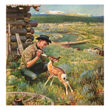 """Feeding Fawn Near Flowering Field""  May 27  1950"