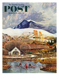 """Ice Hockey on Mountain Pond"" Saturday Evening Post Cover  December 13  1958"