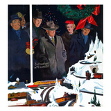 """Christmas Train Set"", December 15, 1956 Giclée par George Hughes"