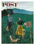 """Farmer and Female Artist in Field"" Saturday Evening Post Cover  June 6  1953"