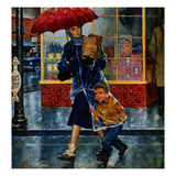 """Leaving Grocery in Rain""  April 24  1954"