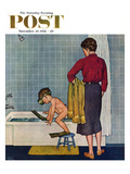 """Scuba in the Tub"" Saturday Evening Post Cover  November 29  1958"