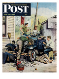 """Working on the Jalopy"" Saturday Evening Post Cover  May 20  1950"