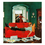 """Sunday Visitors"", February 6, 1954 Giclée par George Hughes"