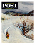 """Tobogganing"" Saturday Evening Post Cover  January 22  1955"