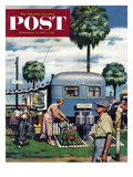 """Trailer Park Garden"" Saturday Evening Post Cover  February 2  1952"