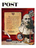 """Benjamin Franklin - Bust and Quote"" Saturday Evening Post Cover  January 19  1957"