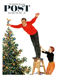 """Topping the Tree"" Saturday Evening Post Cover  December 28  1957"