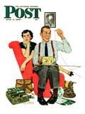 &quot;Fishing Season&quot; Saturday Evening Post Cover  June 3  1950