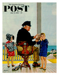 &quot;Listening to the Sea&quot; Saturday Evening Post Cover  July 21  1956