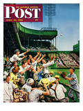 &quot;Catching Home Run Ball&quot; Saturday Evening Post Cover  April 22  1950