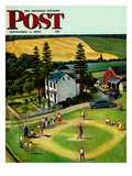 """Family Baseball"" Saturday Evening Post Cover  September 2  1950"