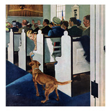 """Dog Walks Down Aisle of Church"", March 24, 1956 Giclée par George Hughes"