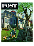 """Window Screens"" Saturday Evening Post Cover  April 10  1954"