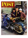 &quot;Tex&#39;s Motorcycle&quot; Saturday Evening Post Cover  April 7  1951