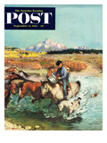 """Herding Horses"" Saturday Evening Post Cover  September 13  1952"