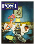 """Late Night Hat Check"" Saturday Evening Post Cover  April 13  1957"