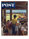 """Doing Dishes at the Beach"" Saturday Evening Post Cover  July 19  1952"