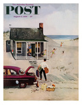 """First Day at the Beach"" Saturday Evening Post Cover, August 11, 1956 Giclée par George Hughes"