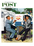 """Milkman Meets Pieman"" Saturday Evening Post Cover  October 11  1958"
