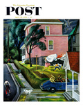 """Spring Storm Blowing In"" Saturday Evening Post Cover  April 26  1952"
