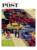"""Traffic Jam"" Saturday Evening Post Cover  April 28  1956"