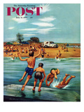 """Ice Cream Truck at the Beach"" Saturday Evening Post Cover  July 31  1954"