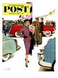 """Woman in Showroom"" Saturday Evening Post Cover  January 5  1952"