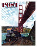 """Fishing Under the Golden Gate"" Saturday Evening Post Cover  November 16  1957"