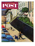 """Spilled Purse on Steep Hill"" Saturday Evening Post Cover  March 26  1955"
