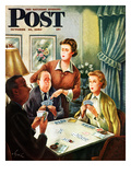 """Bridge Game"" Saturday Evening Post Cover  October 14  1950"